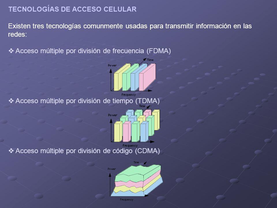TECNOLOGÍAS DE ACCESO CELULAR Existen tres tecnologías comunmente usadas para transmitir información en las redes: Acceso múltiple por división de frecuencia (FDMA) Acceso múltiple por división de tiempo (TDMA) Acceso múltiple por división de código (CDMA)