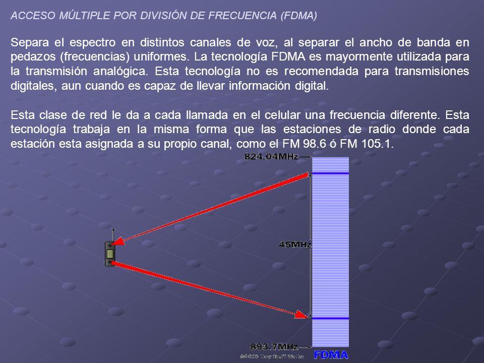 ACCESO MÚLTIPLE POR DIVISIÓN DE FRECUENCIA (FDMA) Separa el espectro en distintos canales de voz, al separar el ancho de banda en pedazos (frecuencias) uniformes.