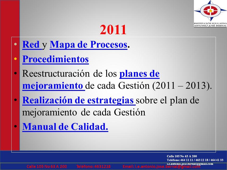 Calle 105 No 63 A 200 Teléfono: 464 11 11 / 463 12 18 / 464 41 33 i.e.antonio.jose.bernal@gmail.com 2011 Red y Mapa de Procesos. Red Mapa de Procesos