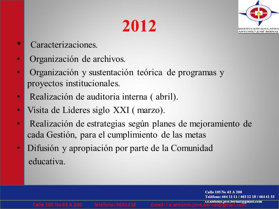Calle 105 No 63 A 200 Teléfono: 464 11 11 / 463 12 18 / 464 41 33 i.e.antonio.jose.bernal@gmail.com 2012 Caracterizaciones. Organización de archivos.