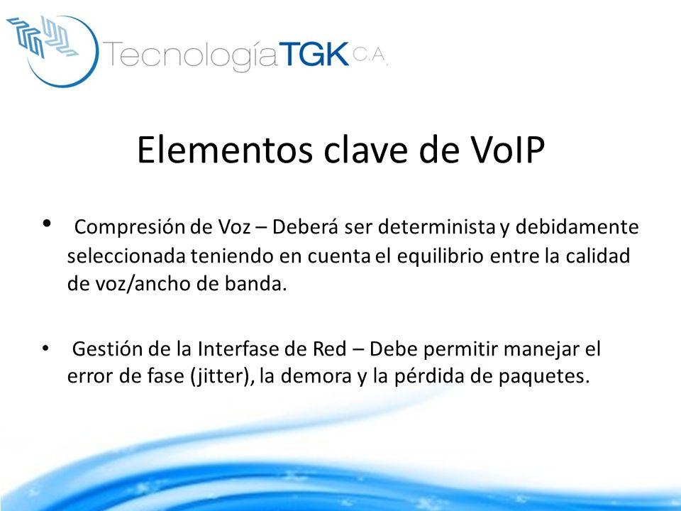 Elementos clave de VoIP Compresión de Voz – Deberá ser determinista y debidamente seleccionada teniendo en cuenta el equilibrio entre la calidad de vo