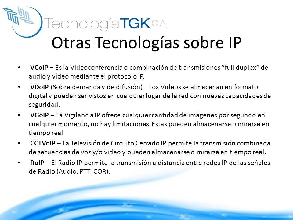 Otras Tecnologías sobre IP VCoIP – Es la Videoconferencia o combinación de transmisiones full duplex de audio y vídeo mediante el protocolo IP. VDoIP