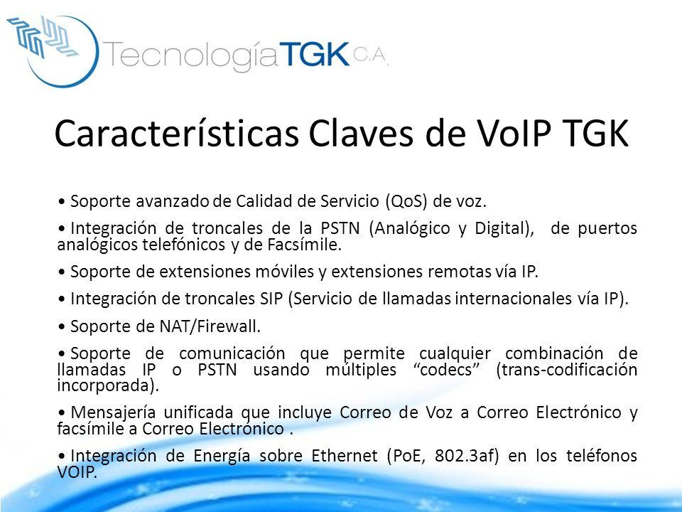 Soporte avanzado de Calidad de Servicio (QoS) de voz. Integración de troncales de la PSTN (Analógico y Digital), de puertos analógicos telefónicos y d