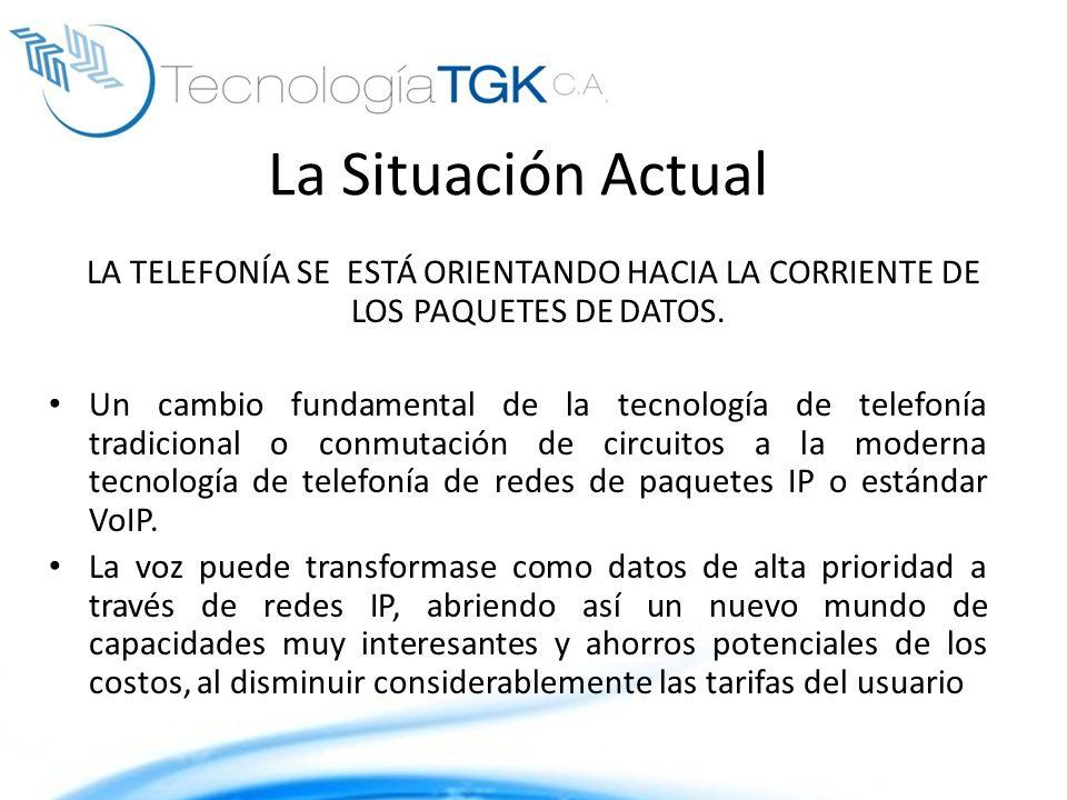 La Situación Actual LA TELEFONÍA SE ESTÁ ORIENTANDO HACIA LA CORRIENTE DE LOS PAQUETES DE DATOS. Un cambio fundamental de la tecnología de telefonía t