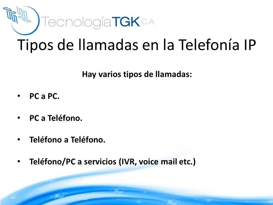 Tipos de llamadas en la Telefonía IP Hay varios tipos de llamadas: PC a PC. PC a Teléfono. Teléfono a Teléfono. Teléfono/PC a servicios (IVR, voice ma