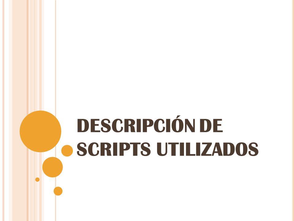 DESCRIPCIÓN DE SCRIPTS UTILIZADOS