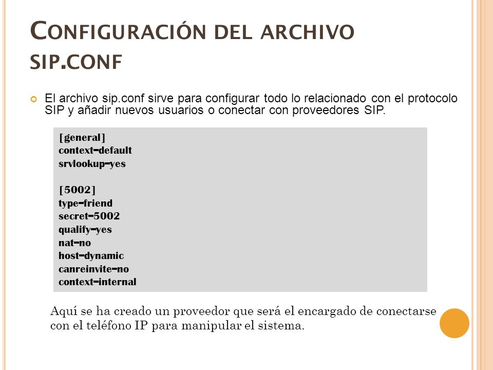 C ONFIGURACIÓN DEL ARCHIVO SIP.