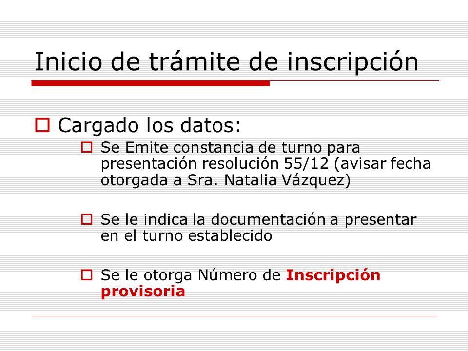 Inicio de trámite de inscripción Cargado los datos: Se Emite constancia de turno para presentación resolución 55/12 (avisar fecha otorgada a Sra.