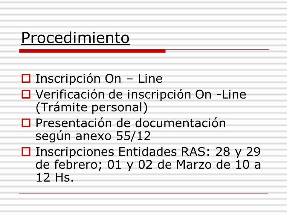 Procedimiento Inscripción On – Line Verificación de inscripción On -Line (Trámite personal) Presentación de documentación según anexo 55/12 Inscripciones Entidades RAS: 28 y 29 de febrero; 01 y 02 de Marzo de 10 a 12 Hs.