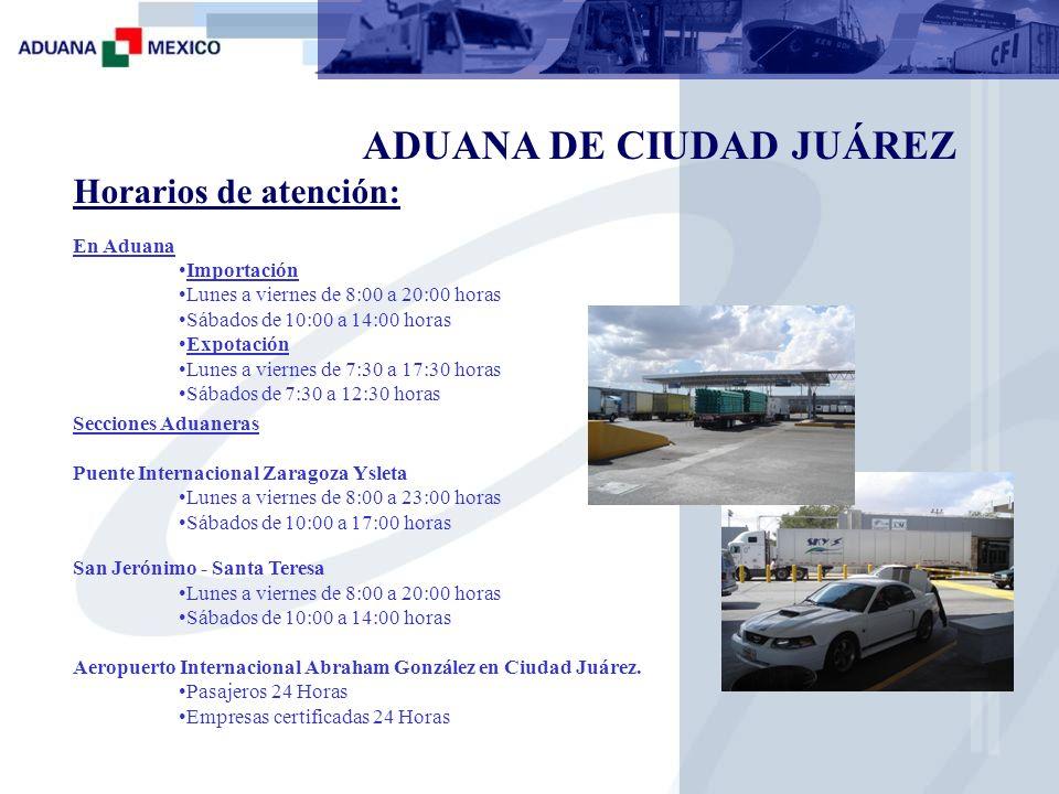 ADUANA DE CIUDAD JUÁREZ Importación: 2 módulos de importación 1 Plataforma de 1er Reconocimiento 1 Equipos de Rayos Gamma 1 Oficia de reconocedores 3 Exclusas Infraestructura (San Jerónimo )