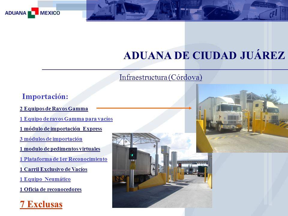 ADUANA DE CIUDAD JUÁREZ Exportación: 4 módulos de exportación 1 modulo Fast 1 Plataforma de 1er Reconocimiento 1 Carril Exclusivo de Vacíos 1 Oficia de reconocedores 5 Exclusas Infraestructura (Córdova)