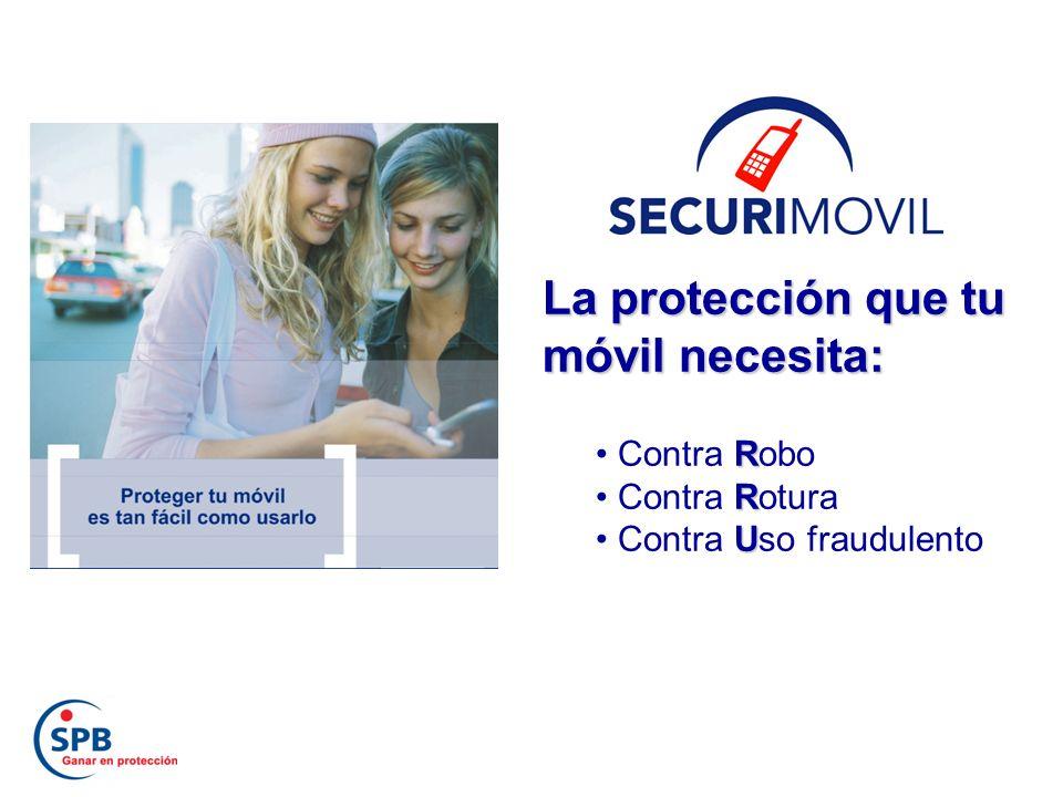 La protección que tu móvil necesita: R Contra Robo R Contra Rotura U Contra Uso fraudulento