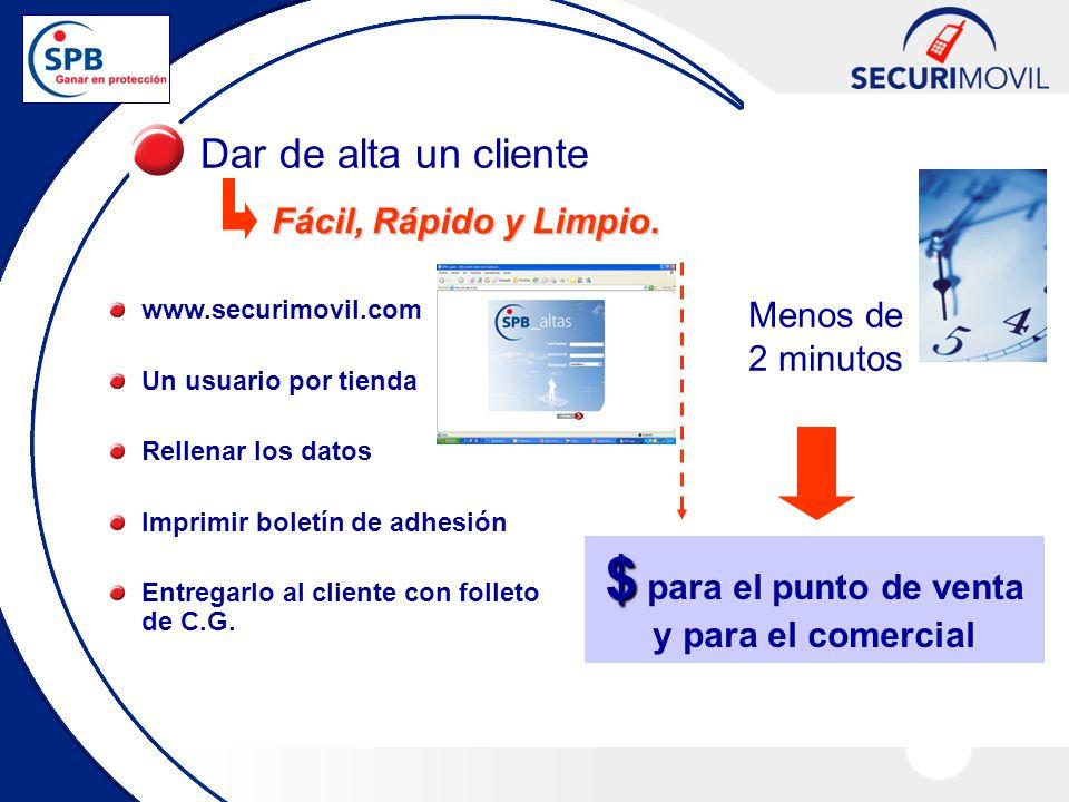 Dar de alta un cliente $ $ para el punto de venta y para el comercial Menos de 2 minutos www.securimovil.com Un usuario por tienda Rellenar los datos