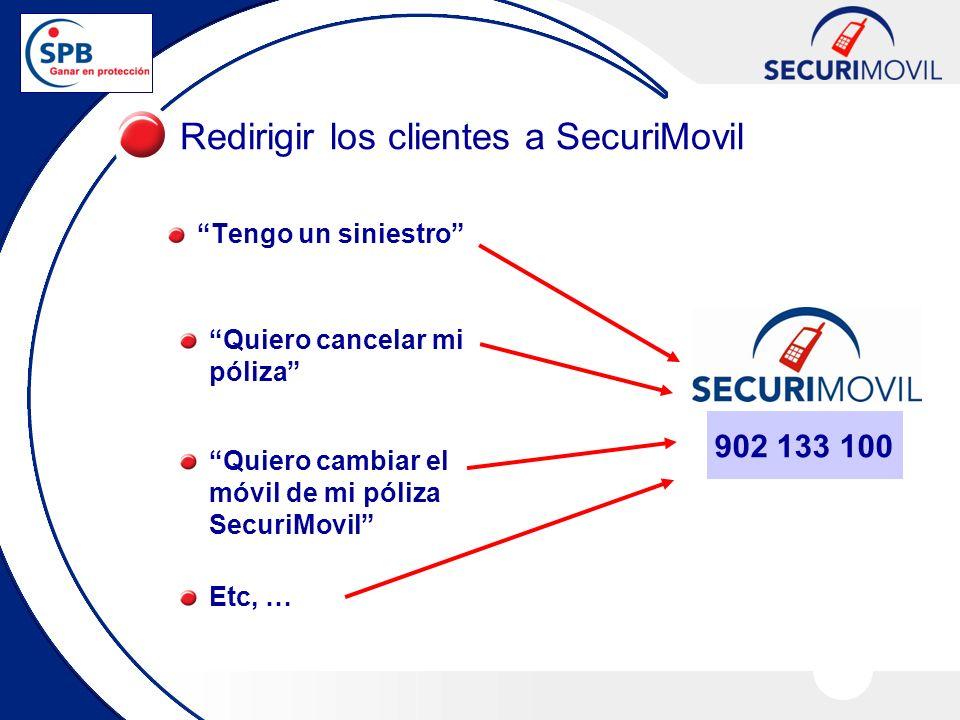 Tengo un siniestro Redirigir los clientes a SecuriMovil Quiero cancelar mi póliza Quiero cambiar el móvil de mi póliza SecuriMovil Etc, … 902 133 100