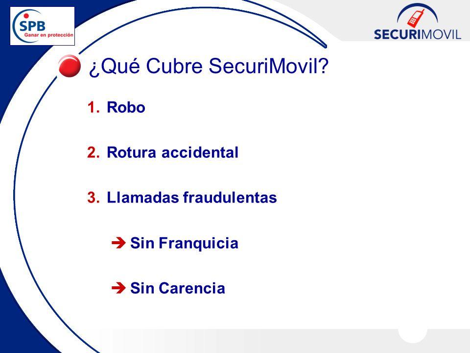 1.Robo 2.Rotura accidental 3.Llamadas fraudulentas Sin Franquicia Sin Carencia ¿Qué Cubre SecuriMovil?