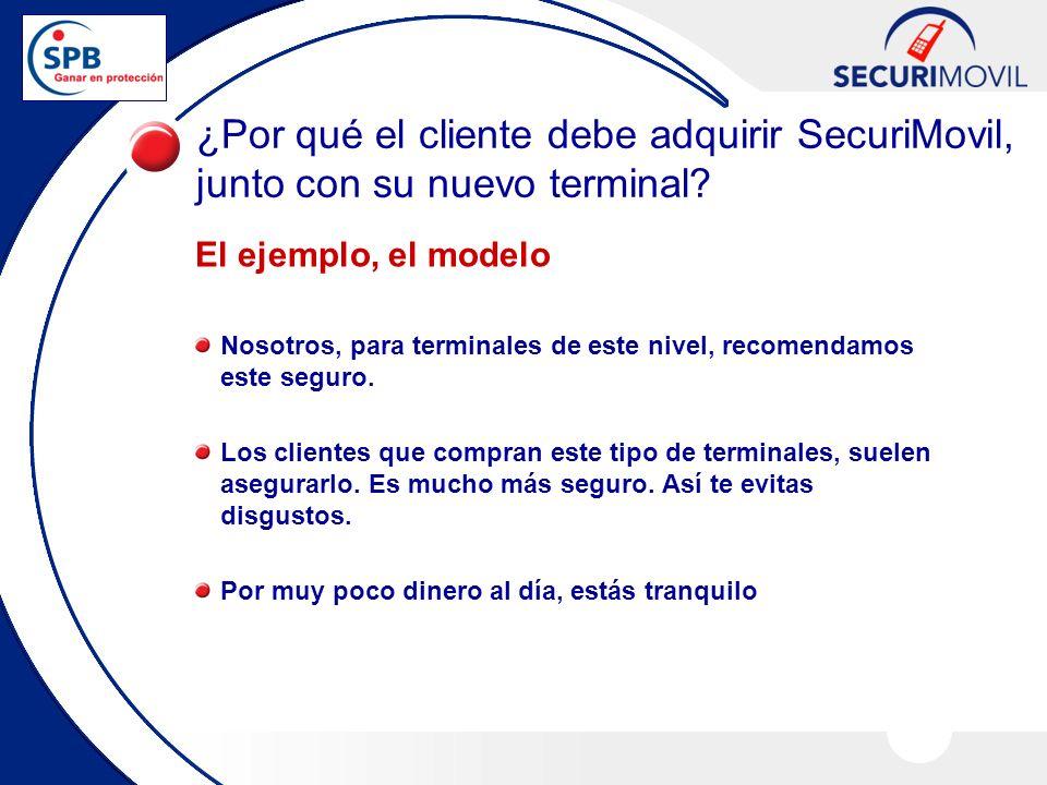¿Por qué el cliente debe adquirir SecuriMovil, junto con su nuevo terminal? El ejemplo, el modelo Nosotros, para terminales de este nivel, recomendamo