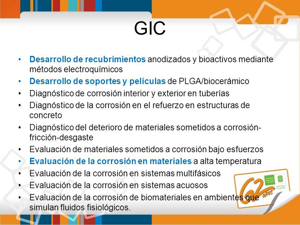 GIC Desarrollo de recubrimientos anodizados y bioactivos mediante métodos electroquímicos Desarrollo de soportes y películas de PLGA/biocerámico Diagn