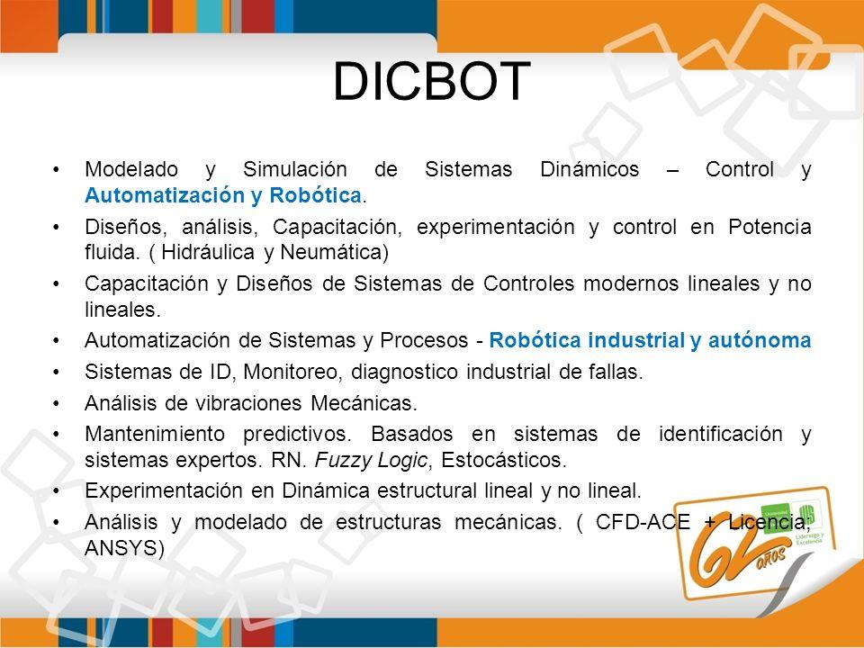 DICBOT Modelado y Simulación de Sistemas Dinámicos – Control y Automatización y Robótica. Diseños, análisis, Capacitación, experimentación y control e