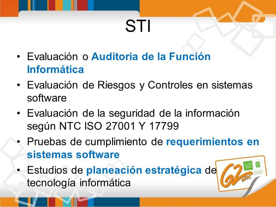 STI Evaluación o Auditoria de la Función Informática Evaluación de Riesgos y Controles en sistemas software Evaluación de la seguridad de la informaci