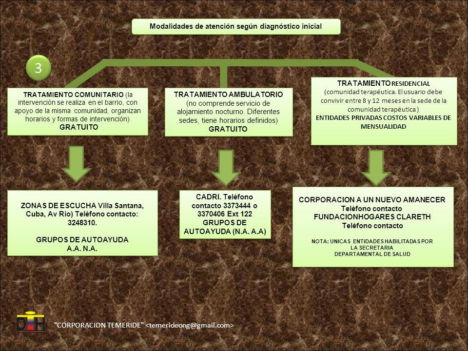 CORPORACION TEMERIDE Modalidades de atención según diagnóstico inicial 3 3 TRATAMIENTO COMUNITARIO (la intervención se realiza en el barrio, con apoyo de la misma comunidad, organizan horarios y formas de intervención) GRATUITO TRATAMIENTO COMUNITARIO (la intervención se realiza en el barrio, con apoyo de la misma comunidad, organizan horarios y formas de intervención) GRATUITO TRATAMIENTO AMBULATORIO (no comprende servicio de alojamiento nocturno.
