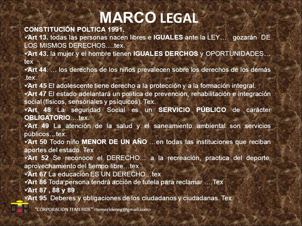 CORPORACION TEMERIDE MARCO LEGAL CONSTITUCIÓN POLTICA 1991.