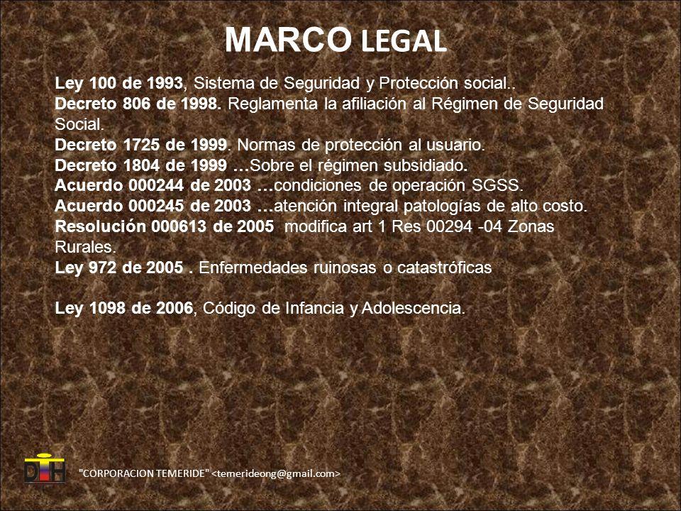 CORPORACION TEMERIDE MARCO LEGAL Ley 100 de 1993, Sistema de Seguridad y Protección social..