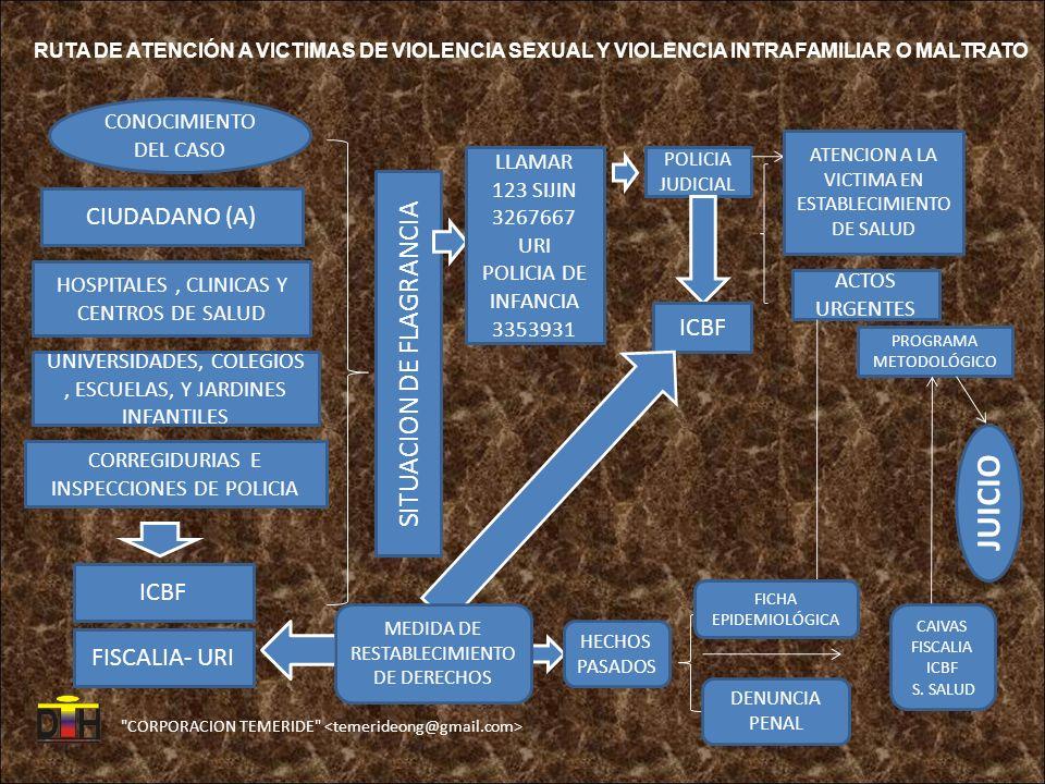 CORPORACION TEMERIDE CONOCIMIENTO DEL CASO CIUDADANO (A) HOSPITALES, CLINICAS Y CENTROS DE SALUD UNIVERSIDADES, COLEGIOS, ESCUELAS, Y JARDINES INFANTILES CORREGIDURIAS E INSPECCIONES DE POLICIA ICBF FISCALIA- URI SITUACION DE FLAGRANCIA LLAMAR 123 SIJIN 3267667 URI POLICIA DE INFANCIA 3353931 POLICIA JUDICIAL ICBF ATENCION A LA VICTIMA EN ESTABLECIMIENTO DE SALUD ACTOS URGENTES PROGRAMA METODOLÓGICO JUICIO CAIVAS FISCALIA ICBF S.