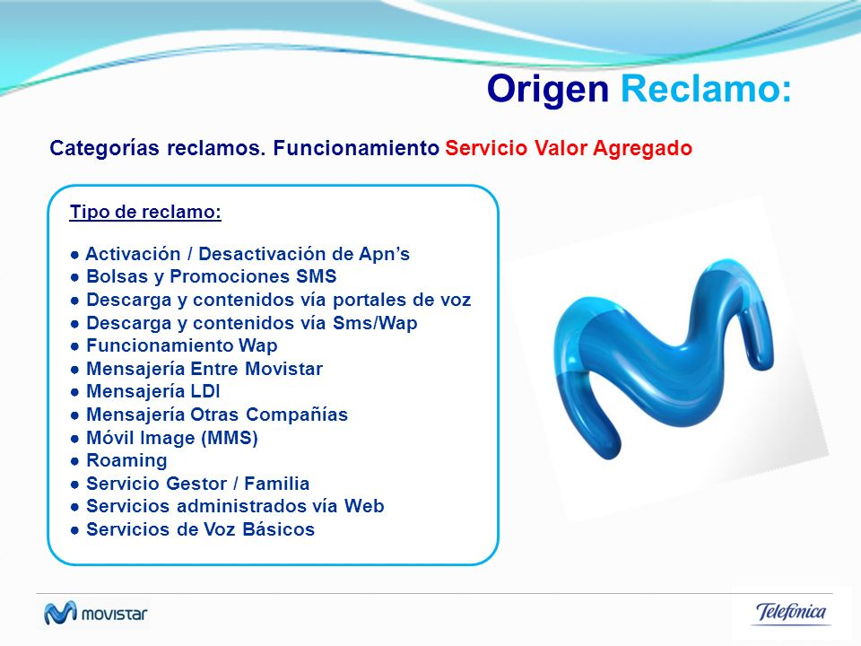 Origen Reclamo: Categorías reclamos. Funcionamiento Servicio Valor Agregado Activación / Desactivación de Apns Bolsas y Promociones SMS Descarga y con