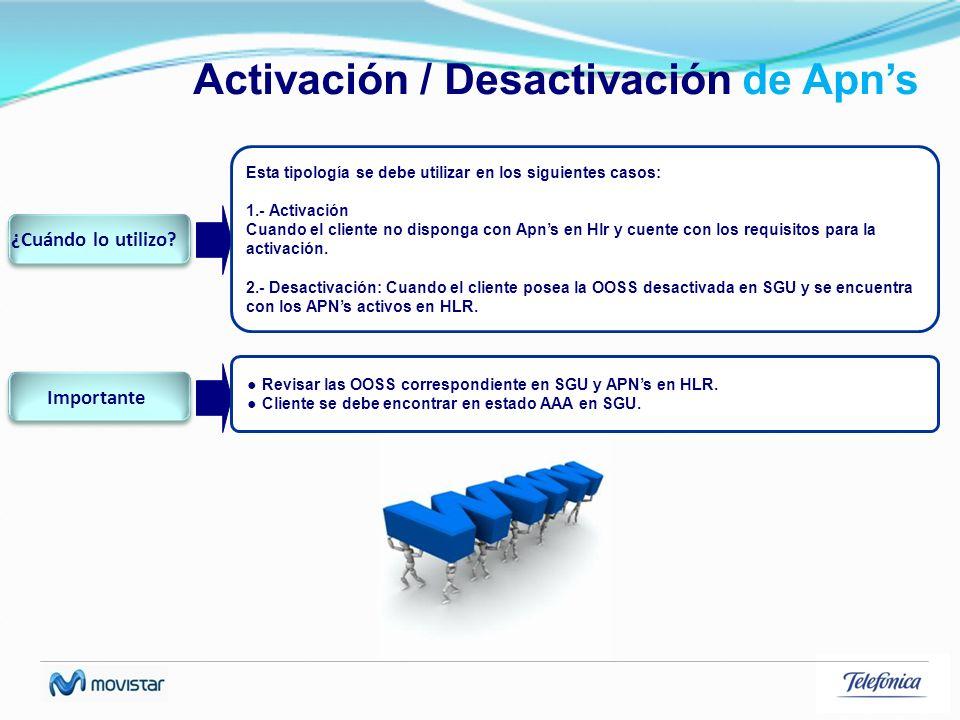 Activación / Desactivación de Apns Esta tipología se debe utilizar en los siguientes casos: 1.- Activación Cuando el cliente no disponga con Apns en H