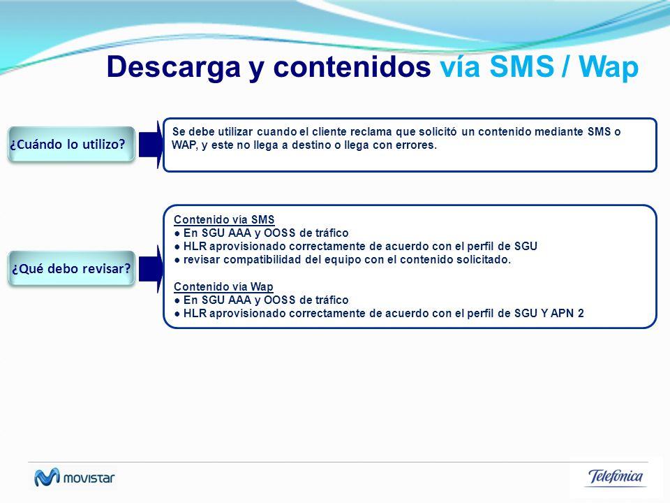 Descarga y contenidos vía SMS / Wap Se debe utilizar cuando el cliente reclama que solicitó un contenido mediante SMS o WAP, y este no llega a destino