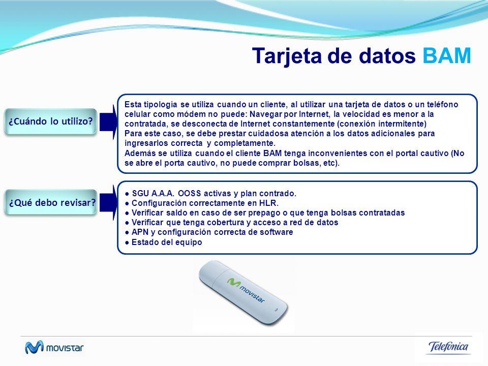 Tarjeta de datos BAM Esta tipología se utiliza cuando un cliente, al utilizar una tarjeta de datos o un teléfono celular como módem no puede: Navegar