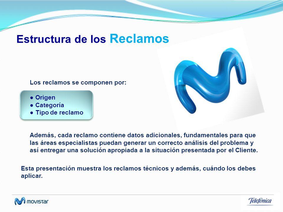 Estructura de los Reclamos Esta presentación muestra los reclamos técnicos y además, cuándo los debes aplicar. Los reclamos se componen por: Origen Ca