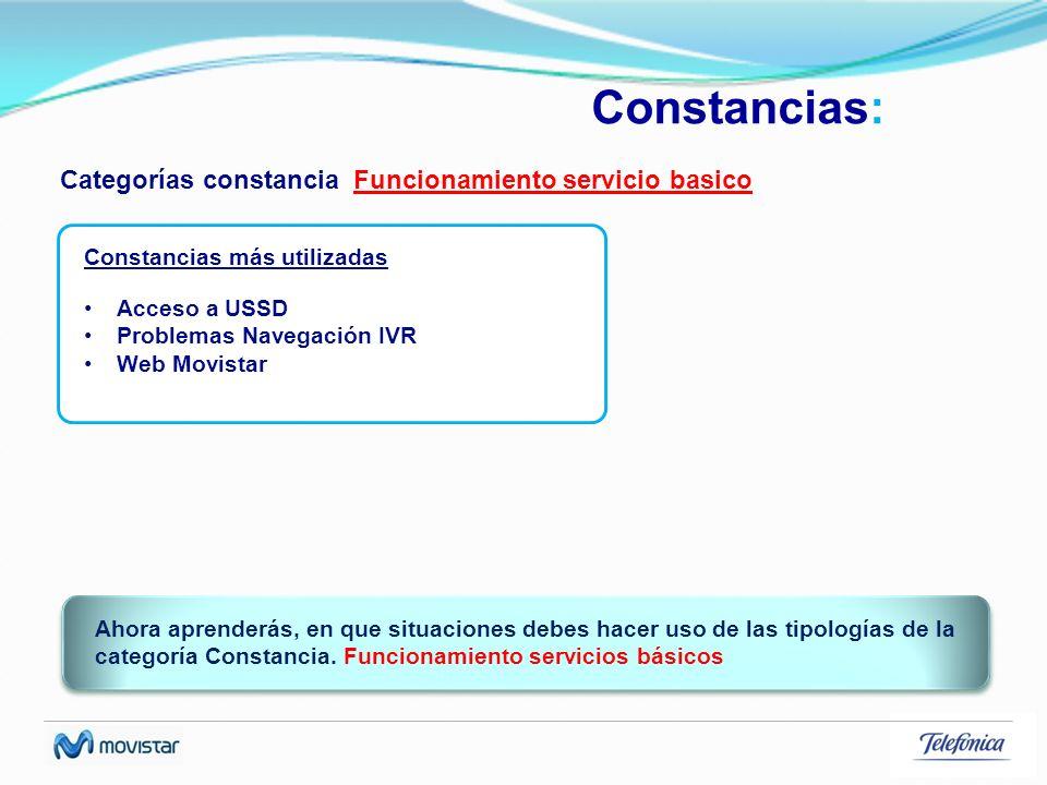 Constancias: Categorías constancia Funcionamiento servicio basico Acceso a USSD Problemas Navegación IVR Web Movistar Constancias más utilizadas Ahora