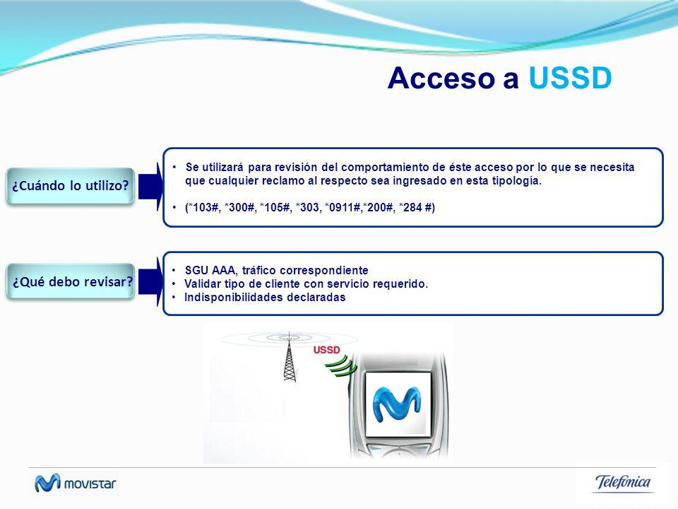 Acceso a USSD Se utilizará para revisión del comportamiento de éste acceso por lo que se necesita que cualquier reclamo al respecto sea ingresado en e