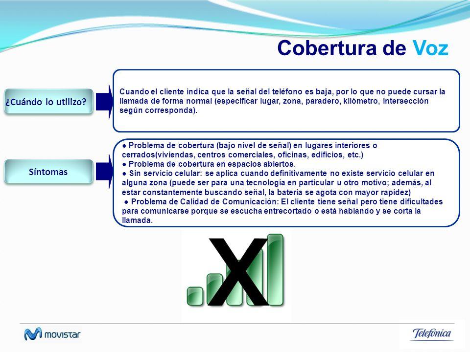 Cobertura de Voz Cuando el cliente indica que la señal del teléfono es baja, por lo que no puede cursar la llamada de forma normal (especificar lugar,