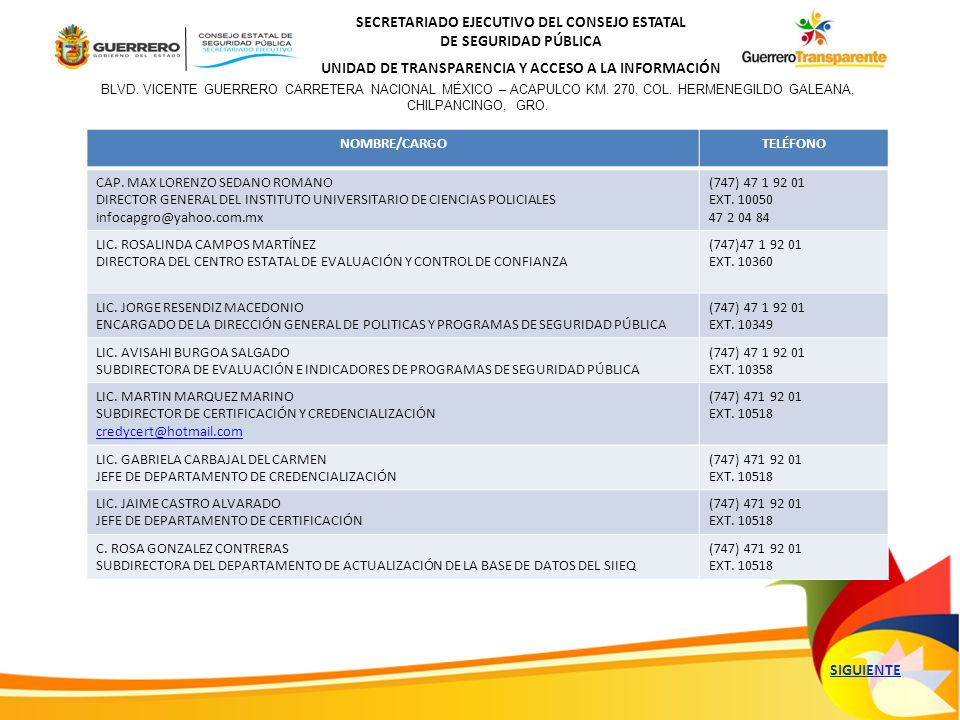 SECRETARIADO EJECUTIVO DEL CONSEJO ESTATAL DE SEGURIDAD PÚBLICA UNIDAD DE TRANSPARENCIA Y ACCESO A LA INFORMACIÓN NOMBRE/CARGOTELÉFONO GRAL SERGIO DANIEL BUSTOS SALGADO DIRECTOR GENERAL DE LA UNIDAD ESTATAL DE TELECOMUNICACIONES (747) 47 1 92 01 EXXT.