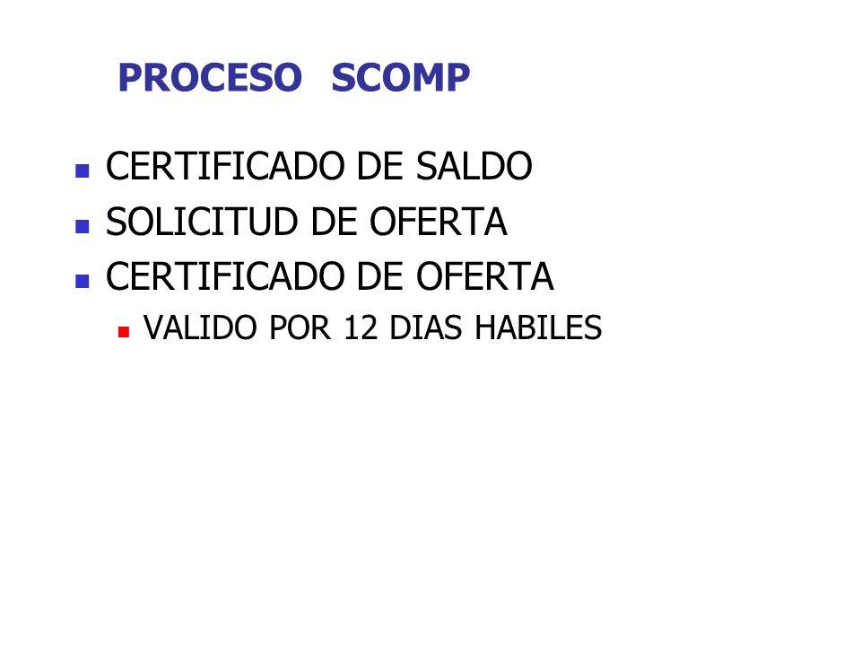 PROCESO SCOMP CERTIFICADO DE SALDO SOLICITUD DE OFERTA CERTIFICADO DE OFERTA VALIDO POR 12 DIAS HABILES