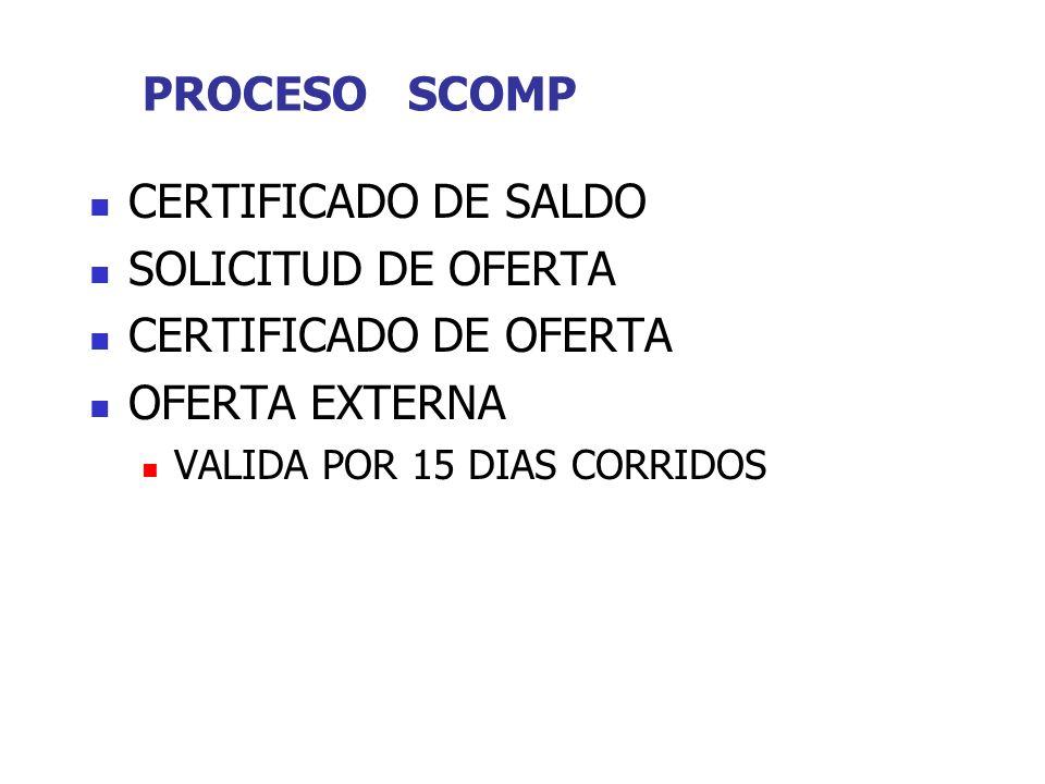 PROCESO SCOMP CERTIFICADO DE SALDO SOLICITUD DE OFERTA CERTIFICADO DE OFERTA OFERTA EXTERNA VALIDA POR 15 DIAS CORRIDOS
