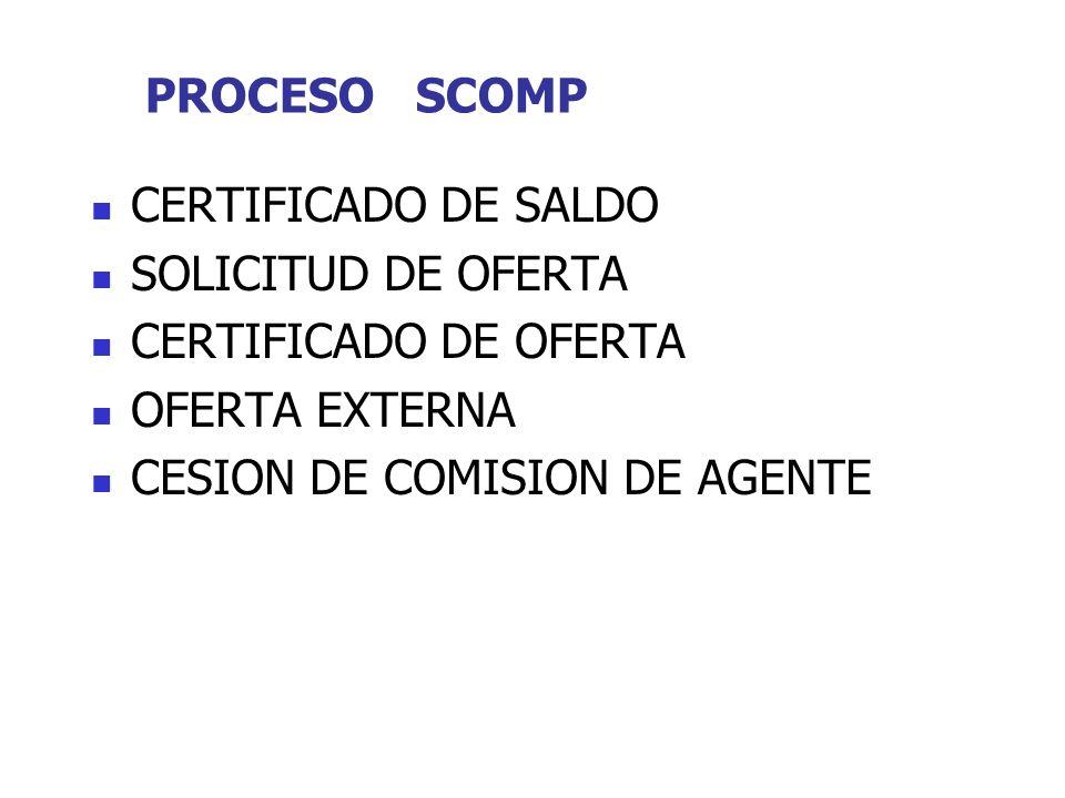 PROCESO SCOMP CERTIFICADO DE SALDO SOLICITUD DE OFERTA CERTIFICADO DE OFERTA OFERTA EXTERNA CESION DE COMISION DE AGENTE