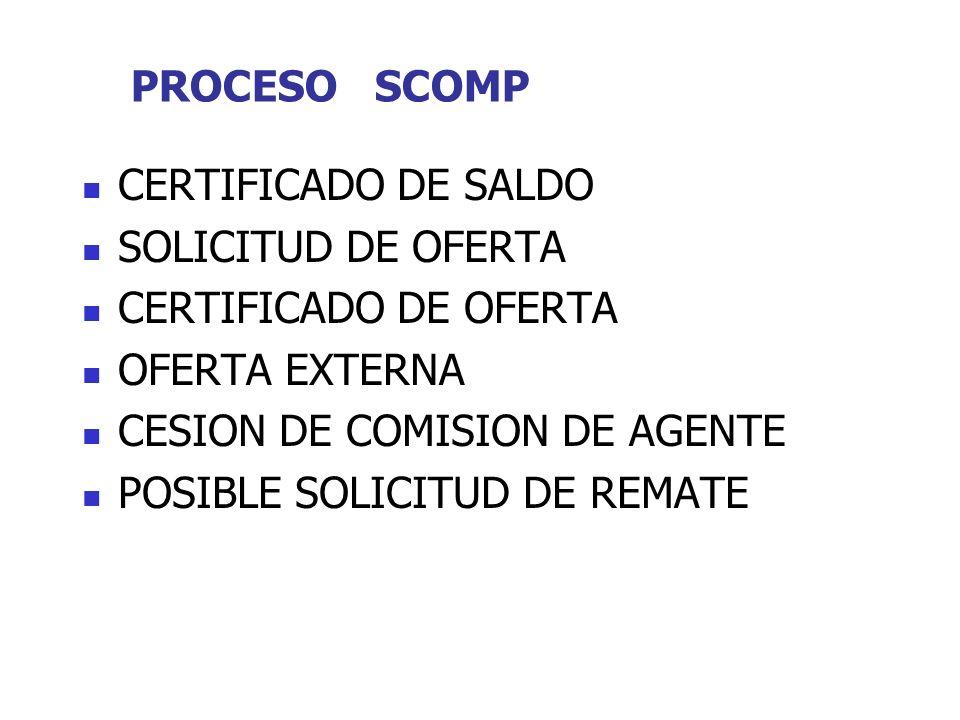 PROCESO SCOMP CERTIFICADO DE SALDO SOLICITUD DE OFERTA CERTIFICADO DE OFERTA OFERTA EXTERNA CESION DE COMISION DE AGENTE POSIBLE SOLICITUD DE REMATE