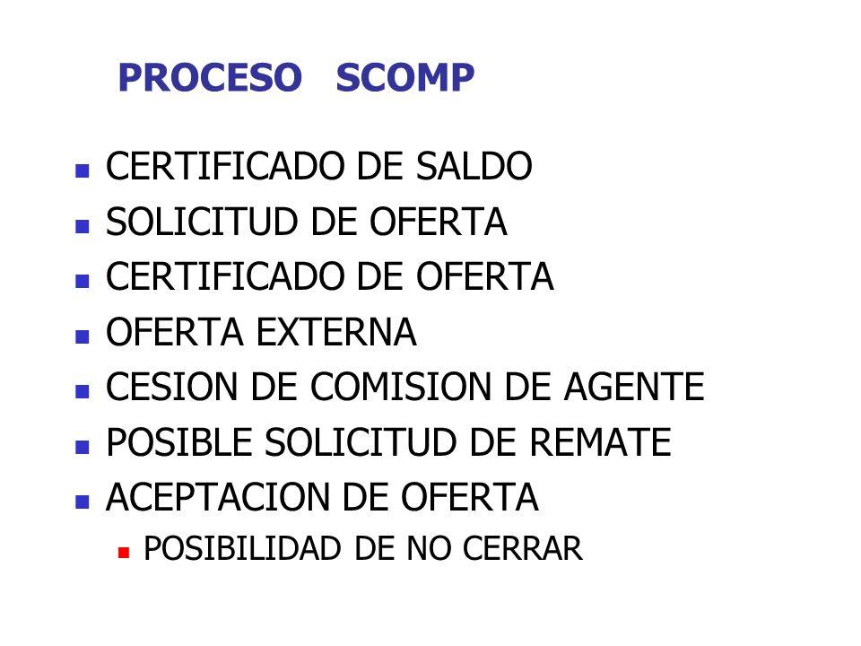 PROCESO SCOMP CERTIFICADO DE SALDO SOLICITUD DE OFERTA CERTIFICADO DE OFERTA OFERTA EXTERNA CESION DE COMISION DE AGENTE POSIBLE SOLICITUD DE REMATE ACEPTACION DE OFERTA POSIBILIDAD DE NO CERRAR