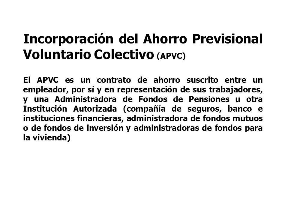 Incorporación del Ahorro Previsional Voluntario Colectivo (APVC) El APVC es un contrato de ahorro suscrito entre un empleador, por sí y en representac