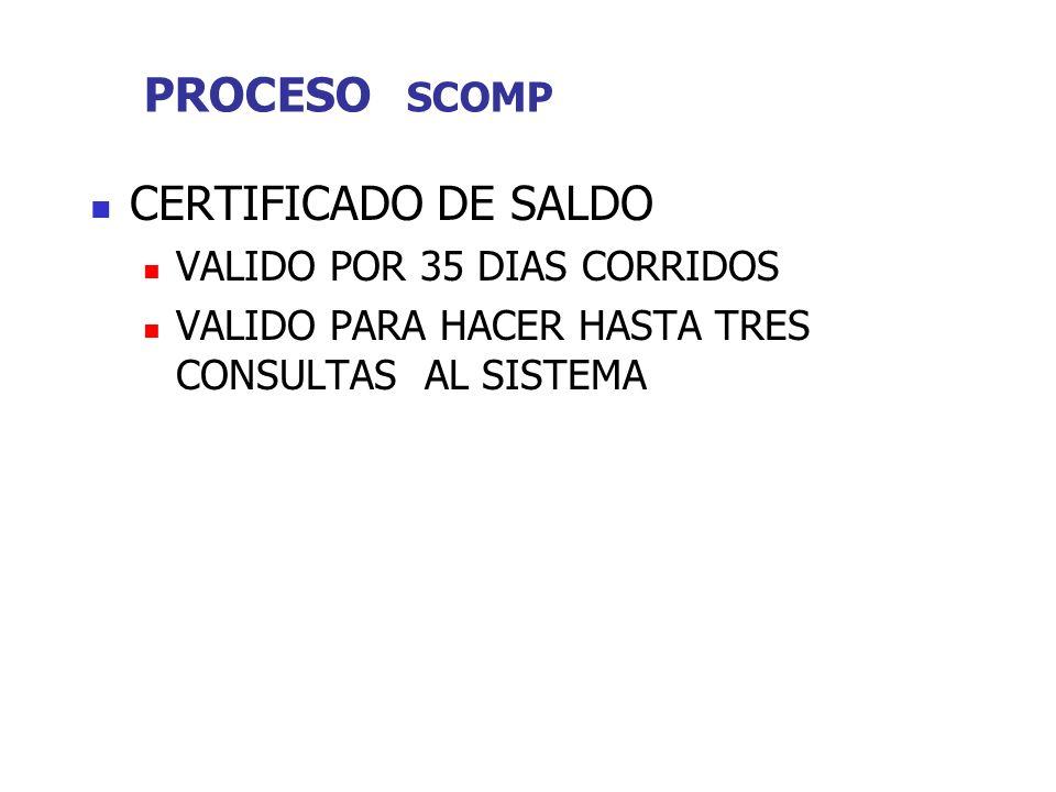 PROCESO SCOMP CERTIFICADO DE SALDO VALIDO POR 35 DIAS CORRIDOS VALIDO PARA HACER HASTA TRES CONSULTAS AL SISTEMA