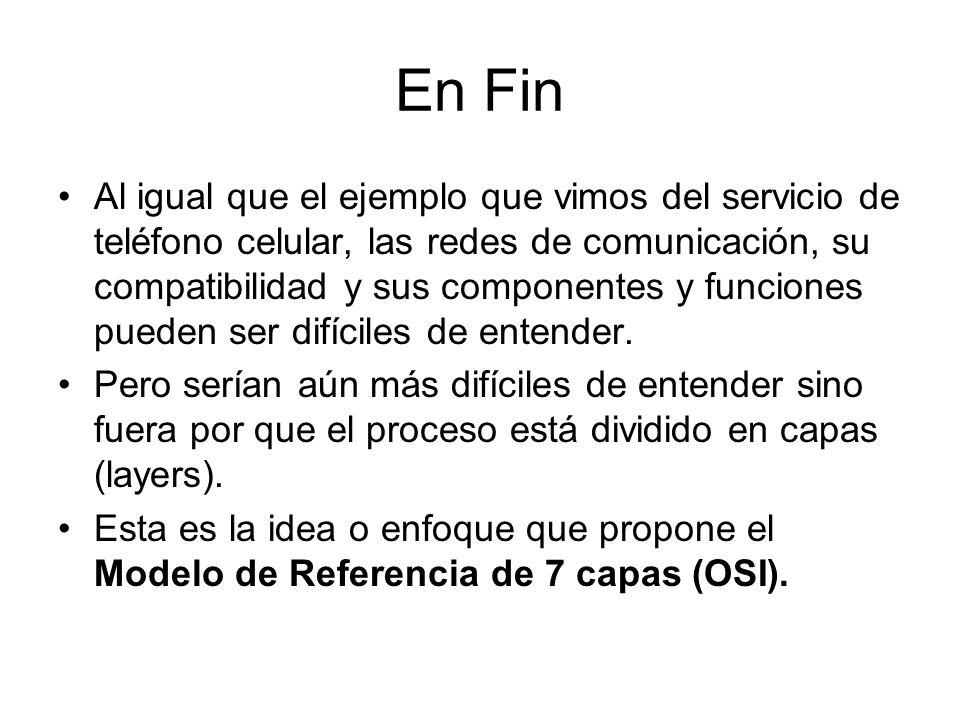 En Fin Al igual que el ejemplo que vimos del servicio de teléfono celular, las redes de comunicación, su compatibilidad y sus componentes y funciones pueden ser difíciles de entender.
