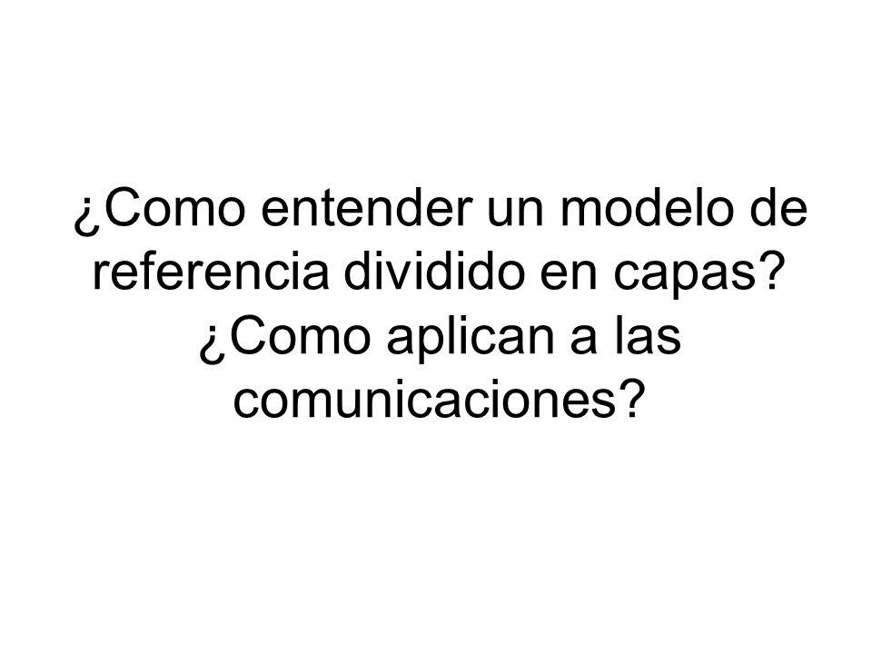 ¿Como entender un modelo de referencia dividido en capas? ¿Como aplican a las comunicaciones?