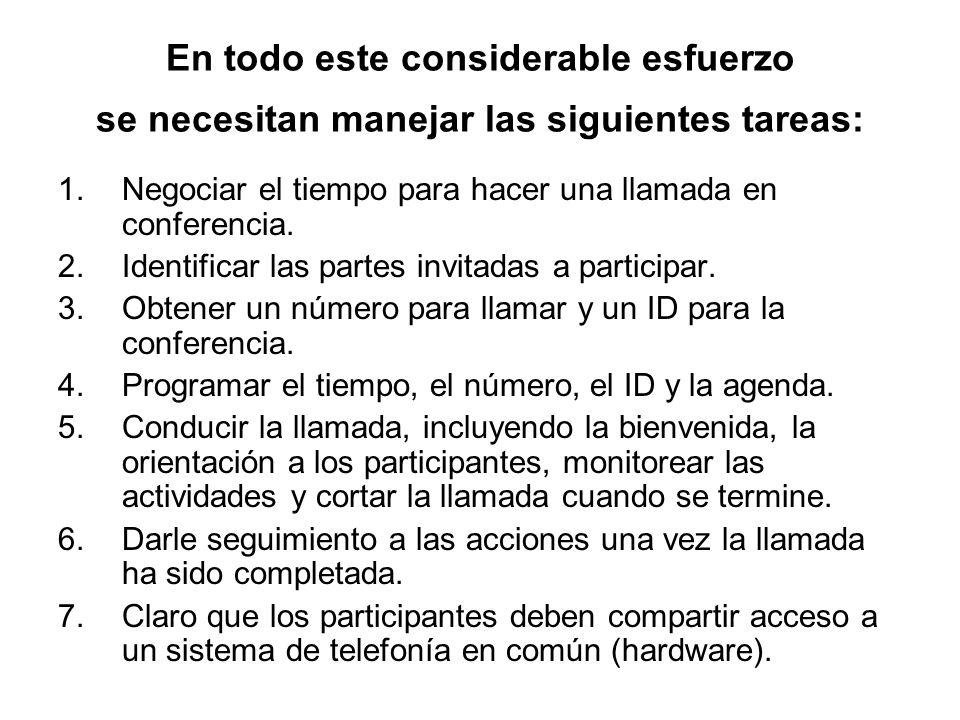 En todo este considerable esfuerzo se necesitan manejar las siguientes tareas: 1.Negociar el tiempo para hacer una llamada en conferencia.