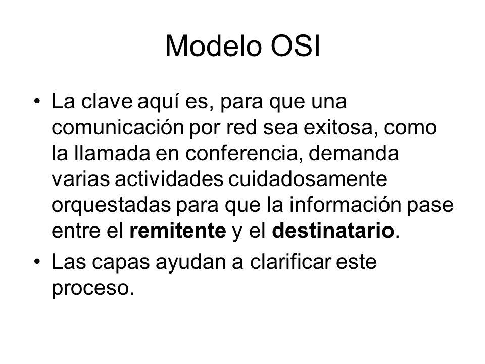 Modelo OSI La clave aquí es, para que una comunicación por red sea exitosa, como la llamada en conferencia, demanda varias actividades cuidadosamente orquestadas para que la información pase entre el remitente y el destinatario.