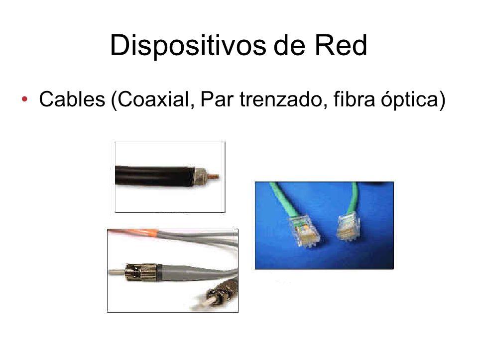 Dispositivos de Red Cables (Coaxial, Par trenzado, fibra óptica)