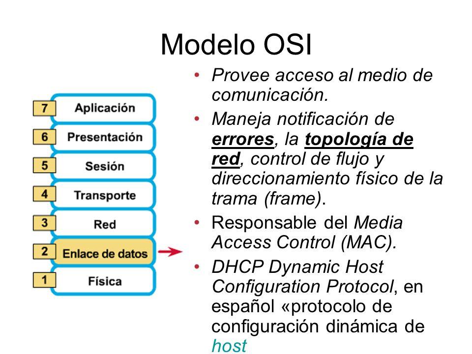Modelo OSI Provee acceso al medio de comunicación.