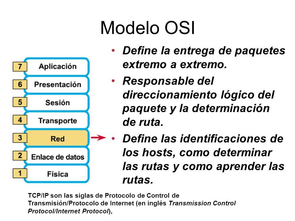 Modelo OSI Define la entrega de paquetes extremo a extremo.